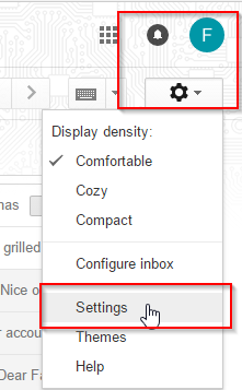 Screenshot of how to get to Settings